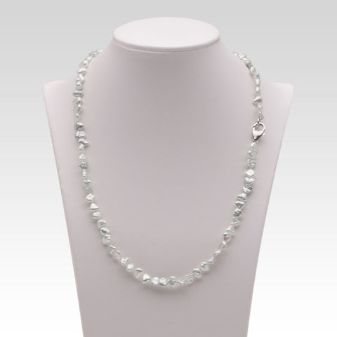 Keshi Akoya Pearl Necklace with Silver Clasp