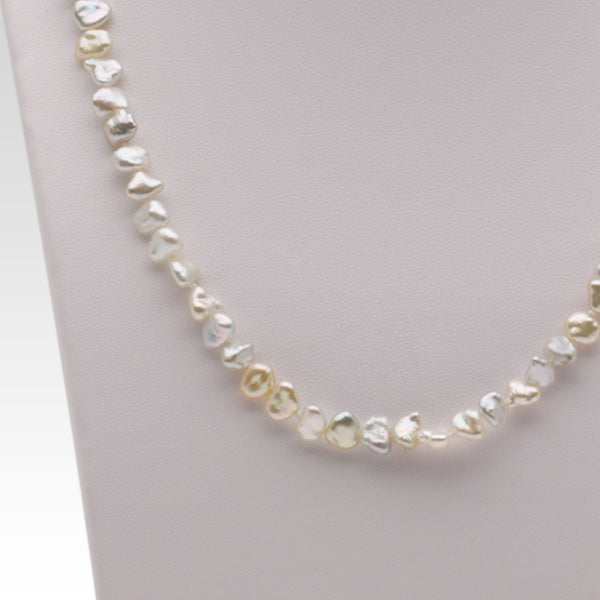 Keshi Pearl Necklace: Keshi Akoya Pearl Necklace With Silver Clasp