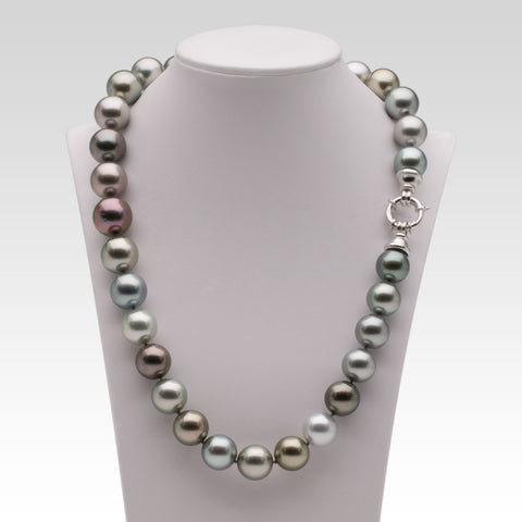 Multi-coloured Tahitian Pearl Necklace with White Gold Clasp