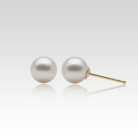 White Akoya Pearl Stud Earrings in Yellow Gold