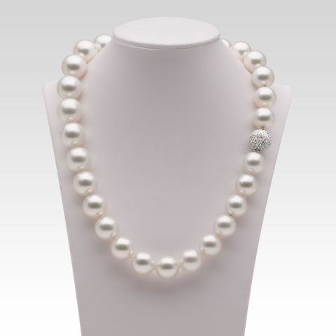 White South Sea Pearl Necklace with Pave Diamond and White Gold Ball Clasp