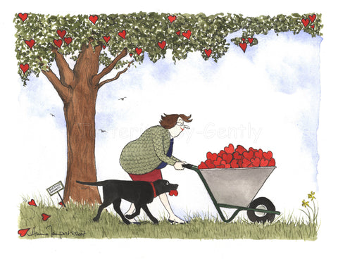 Daffy and wheelbarrow full of hearts...