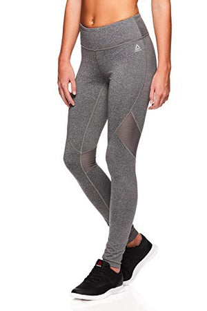 Reebok Women's Legging Full Length Performance Compression Pants - Charcoal Heather, Large
