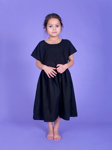 Lucky Last - SS17 Collectors summer dress - Black linen- size 3-4, 5-6