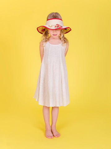 Lucky Last -  Sarah shift dress - Oat Linen- size 3-4