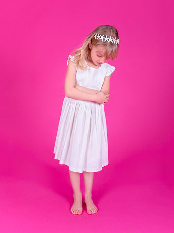 Lucky Last -  Wendy dress - White linen - size 3-4