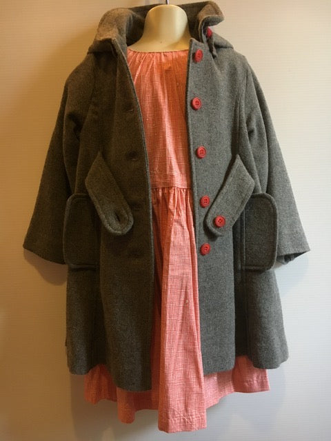 LUCKY LAST - Keepsake Coat - Ash Wool- size 3-4 - RED BUTTONS