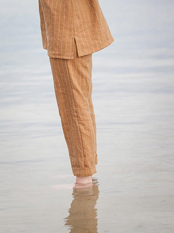 SS18 Womens - Tailored linen Pants - Nutmeg stripe