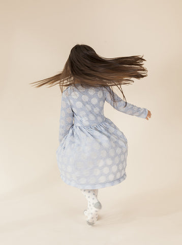 size 1-2 & 3-4 Kenny Dress - Blue Spots