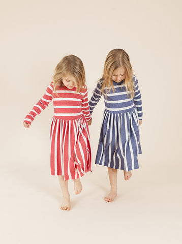 Lucky Last - Kenny Dress - Blue Stripes size 1-2