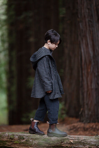 AW19 Boys - Treasure Coat (unisex) - Black Check wool