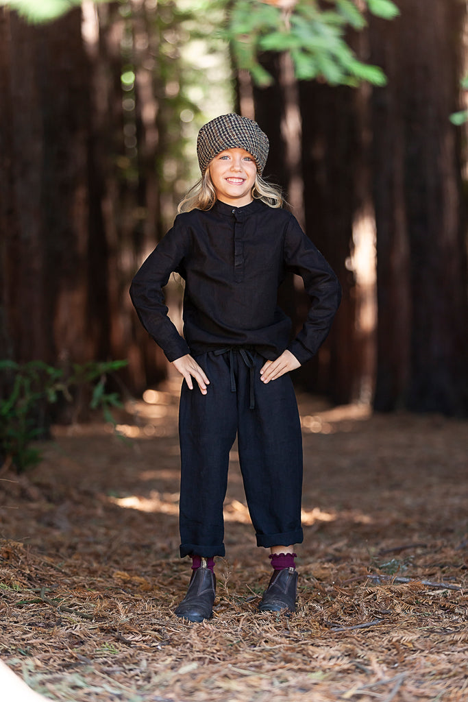 AW19 Kids - Linen pants - Washer black