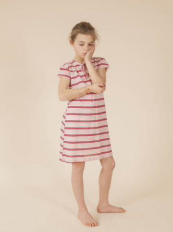 Nina Dress - Red & Pink Stripes - size 2, 3 & 4 -