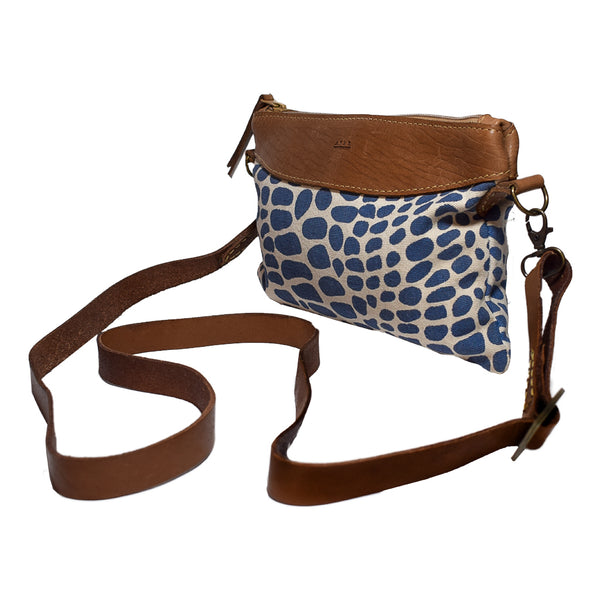 Afar Taitu Cross Body & Clutch Leopard Blu