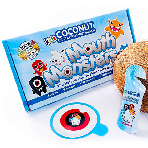 Mintycoco MouthMonsters Kids Coconut Therapy Mouthwash NEW! coconut oil pulling therapy mouthwash shark tank noosa help stop gum disease get whiter teeth