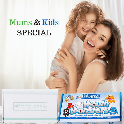 "Mintycoco ""Mum & Me"" Special - Oil Therapy Mouthwash for Parents & Kids coconut oil pulling therapy mouthwash shark tank noosa help stop gum disease get whiter teeth"