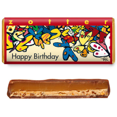 "Zotter - Hand-Scooped Chocolate - Butter Caramel ""Happy Birthday"""