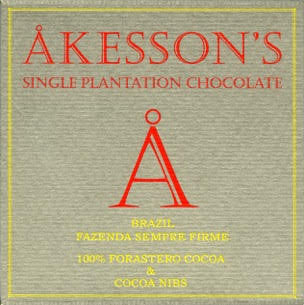 Akesson's Chocolate No-Sugar 100% Brazil at Hello Chocolate