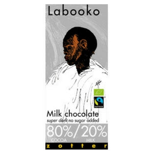 Labooko - Milk Chocolate 80%/20% Super Dark, no sugar added
