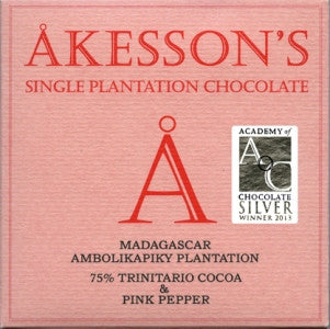 Akesson's Chocolate - Madagascar Pink Pepper 75% - HelloChocolate®- Akesson's