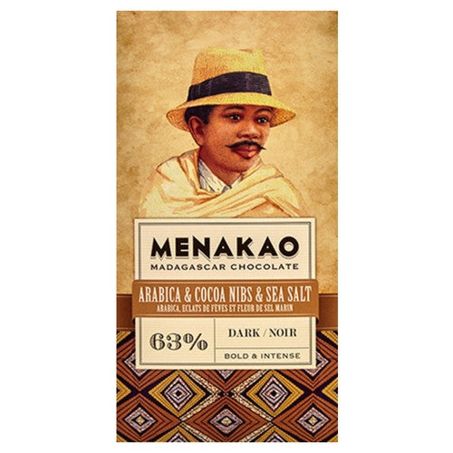 Menakao Dark Chocolate 63% - Arabica, Cocoa Nibs & Sea Salt - HelloChocolate®- Menakao