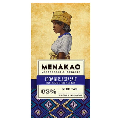 Menakao Dark Chocolate 63% - Cocoa Nibs & Sea Salt - HelloChocolate®- Menakao
