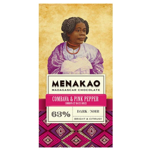 Menakao Dark Chocolate 63% - Combava & Pink Pepper - HelloChocolate®- Menakao