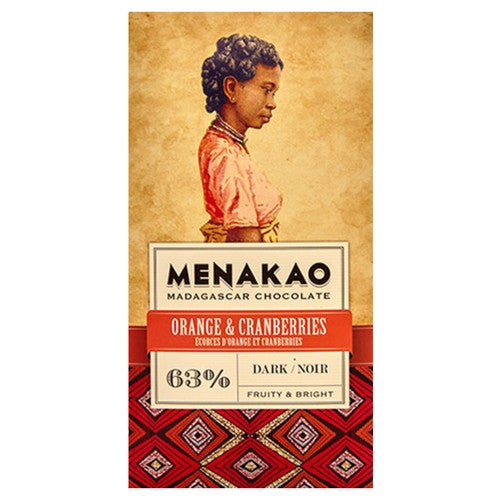Menakao Dark Chocolate 63% - Orange & Cranberries - HelloChocolate®- Menakao