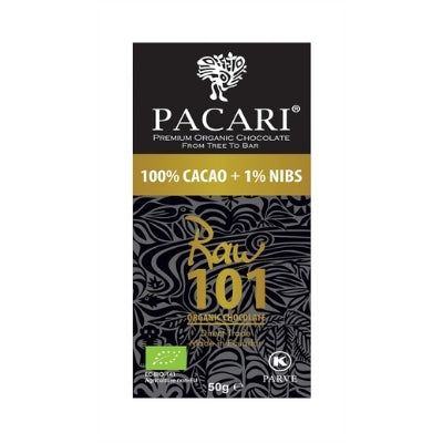 Pacari - Raw 101% - No-Sugar Organic Dark Chocolate with Nibs
