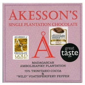 akesson's dark chocolate with wild pepper at Hello Chocolate