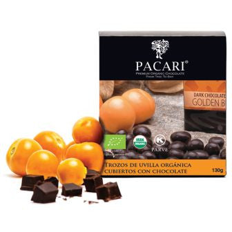 Pacari Dark Chocolate Covered Golden Berries - HelloChocolate®- Pacari