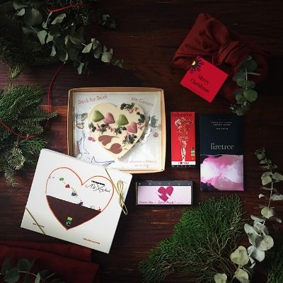"Christmas Chocolate Gift - ""I Love You Sooooo Much"" - Linen Furoshiki Wrap"