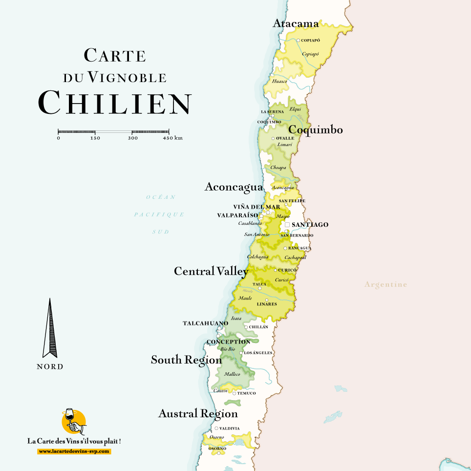 carte vins chili wine map