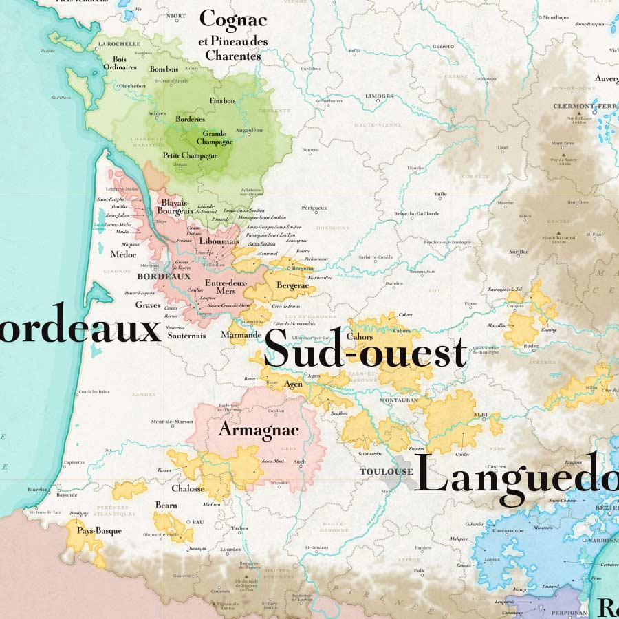 Wine Map of France XXL