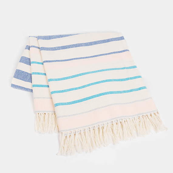 Blue Stripey Mexican Rug