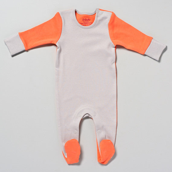 Coral and Grey Sleepsuit