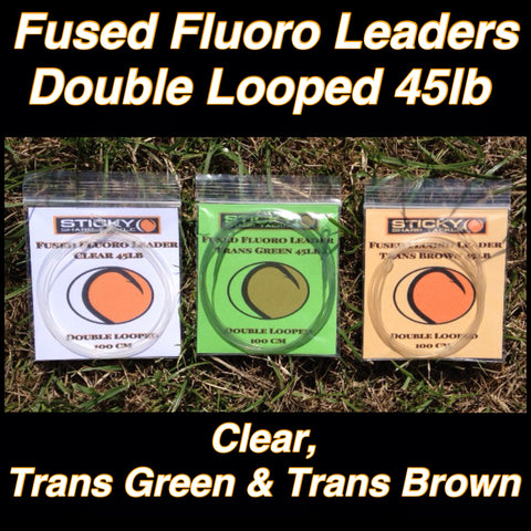 Fused Fluorocarbon Leaders - Various Colours Available - Double Looped 45lb