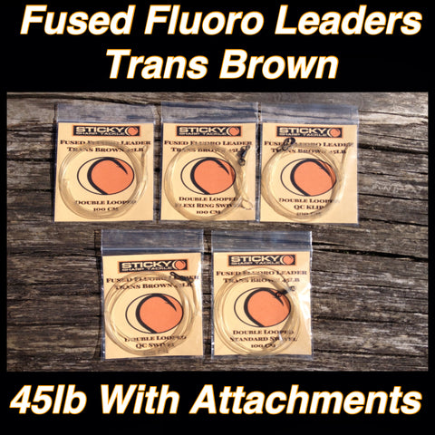 Fluorocarbon Leaders - Various Attachments Available - Trans Brown 45lb