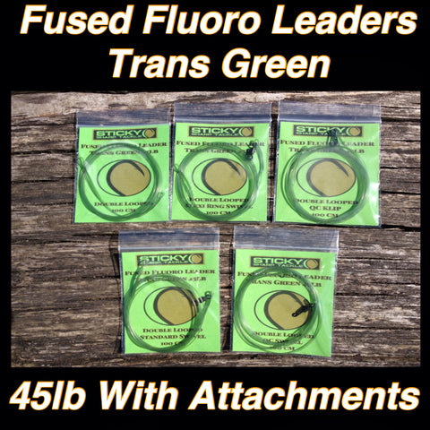 Fluorocarbon Leaders - Various Attachments Available - Trans Green 45lb