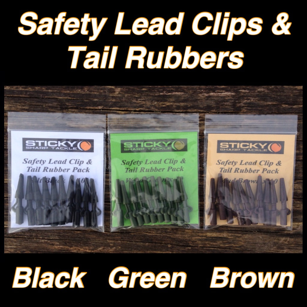 Safety Lead Clip & Tail Rubber Packs - Silt Black, Green & Brown