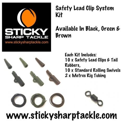 Safety Lead Clip System Kit - Silt Black, Green & Brown