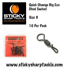 Quick Change Big Eye Chod/Heli Swivels Size 8