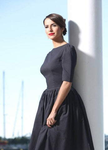 Aristocratic chic grey vintage inspired dress from Von 50's
