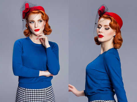 Fantastic blue vintage inspired jumper from Von 50's