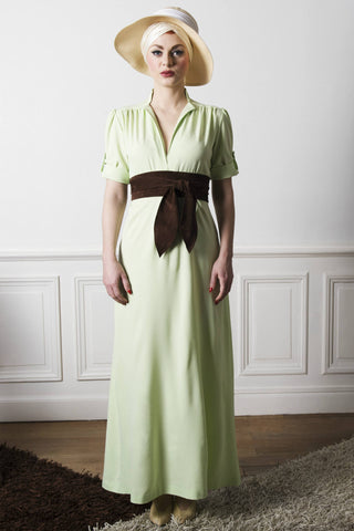 Astonishing vintage inspired almond green maxi dress from VON 50'