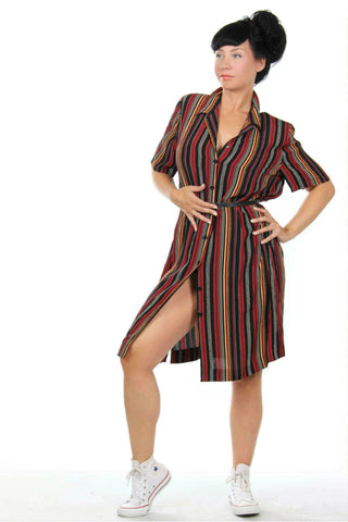 Modish multi vintage dress from the '80s