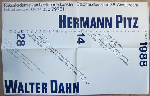 Rijksacademie Amsterdam, Typography # HERMANN PITZ and WALTER DAHN # 1988, nm