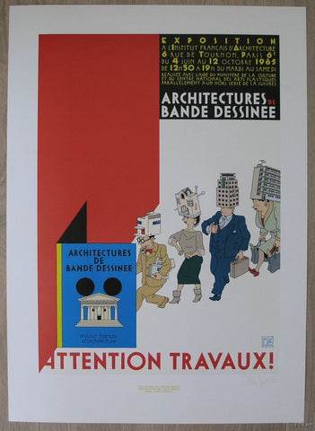 Joost Swarte # ATTENTION TRAVAUX # signed 1985, mint