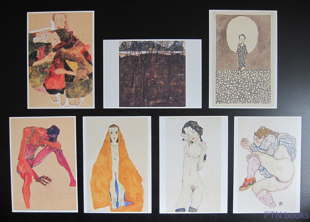 Egon Schiele # set of 7 POSTCARDS # mint