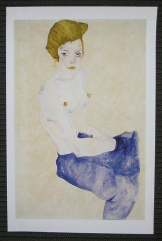 Egon Schiele# Girl with BLUE SKIRT#1911,Kalir 919,mint